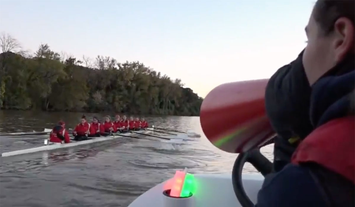 A video showing the women's rowing team practicing on the Anacostia River in Washington, DC
