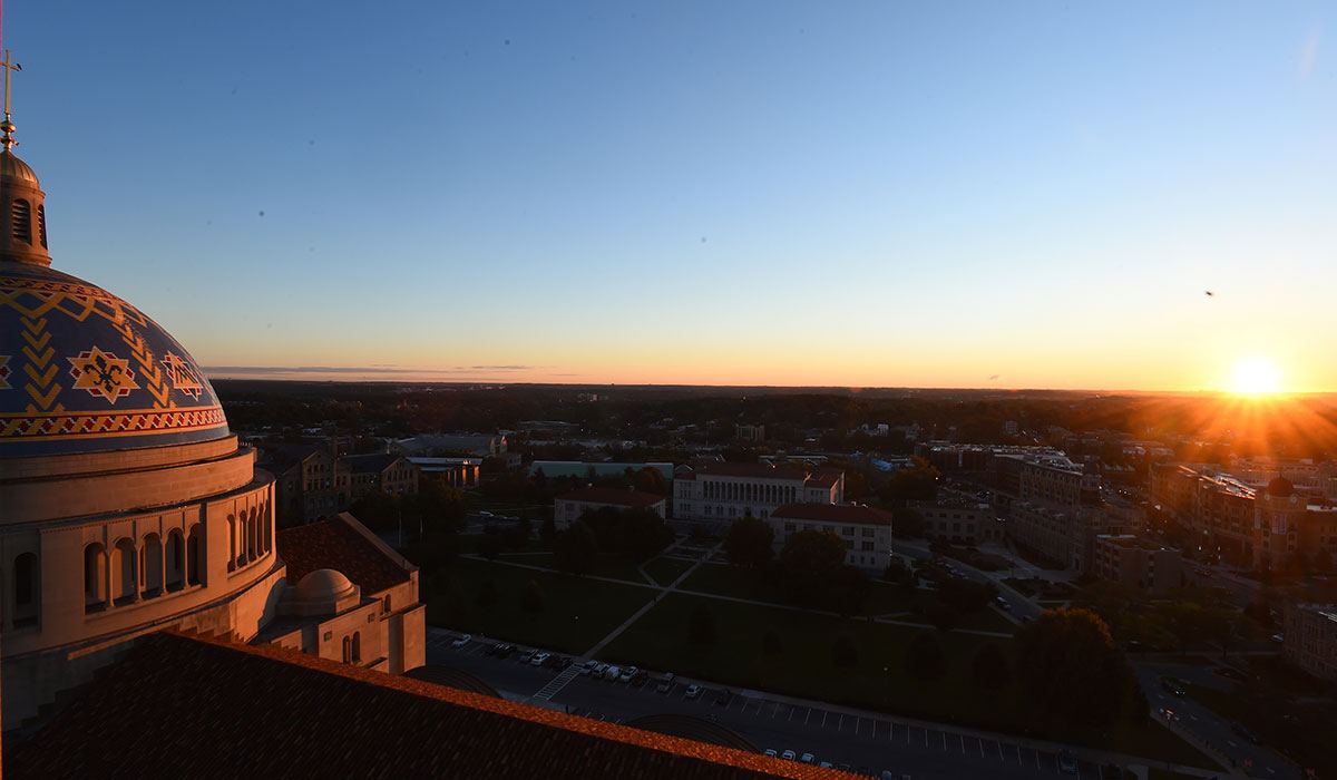 Sunrise over the campus