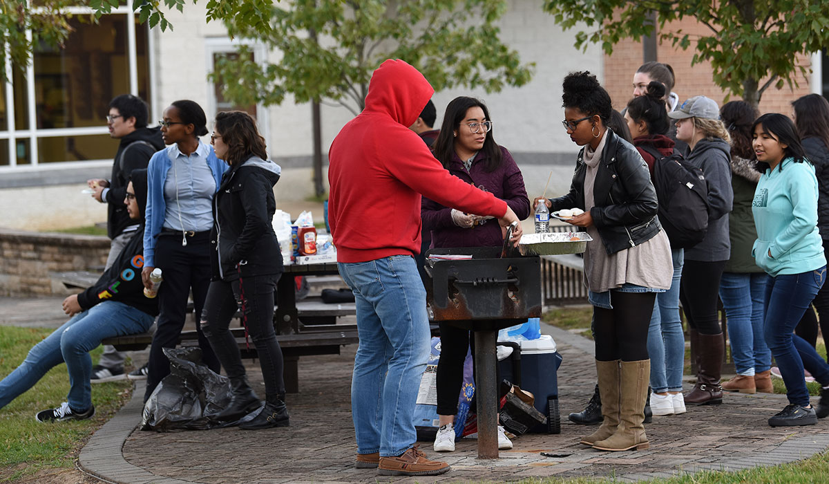 Second mosaic photo shows members of SOL at a cookout on campus.