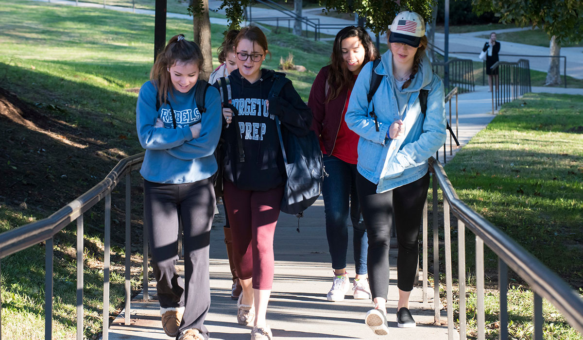 Sixth mosaic photo shows a group of female students walk up the stairway between the residence halls and the Pryz