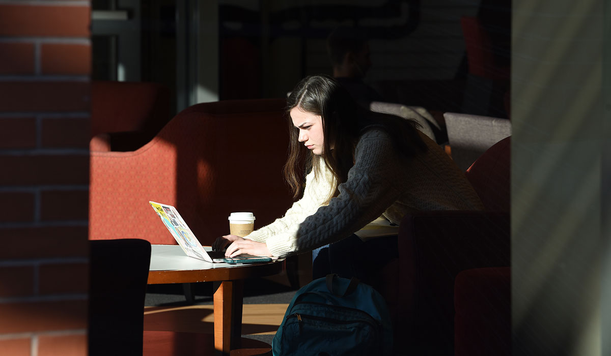 Student using laptop in Murphy's Lounge with sun shining on her